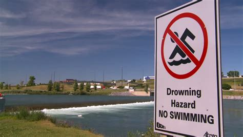 Weir On River, Dangerous Water, Drowning Hazard Signs
