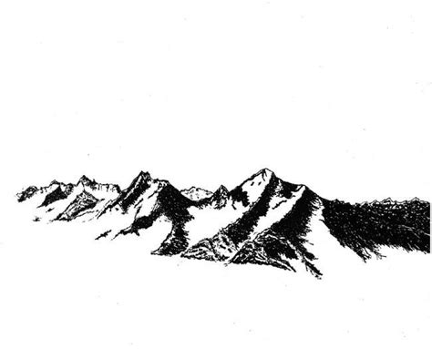 Black And White Mountains Pen Drawing By James Parker