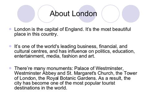 Presentation about London's attractions
