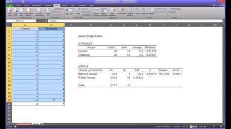 Pretest and Posttest Analysis Using Excel - YouTube