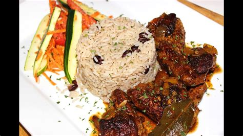 Caribbean Brown Stew Chicken with Rice & Peas Recipe - YouTube